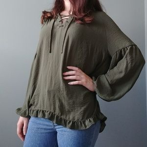 a.n.a Lace-up Blouse